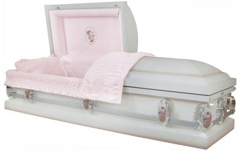8066 - Embroided Rose Casket - 18ga Light Pink Velvet, White Shaded Pink Finish