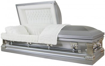 8100 - 18 Gauge Steel Casket Natural Brush Silver Finish