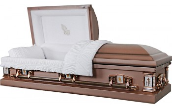 8102 - Praying Hands Casket 18ga   Mid Bronze Shaded Finish - White Velvet