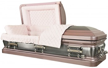 8104  - 18 Gauge Steel Casket Silver Rose - Brushed - Pink Velvet