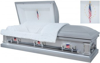 8120 - Flag Casket 18ga Silver Finish / Patriotic Head Panel, White Velvet