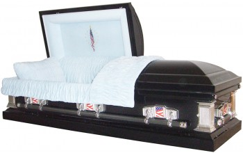 8121 - 18 Gauge Steel Casket Navy Blue Finish / Patriotic Head Panel
