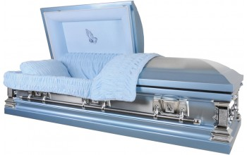 8958 - Stainless Steel Casket Light Blue with Light Blue Interior