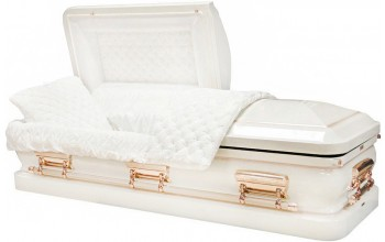 8167 - 18 Gauge Steel Casket White finish W/ Copper Accents - Quilted Velvet - Copper Hardware