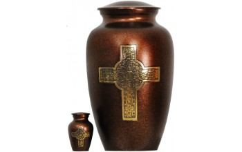 82A - Brass Urn Velvet Box plus 1 Keepsake Copper with Black and Gold