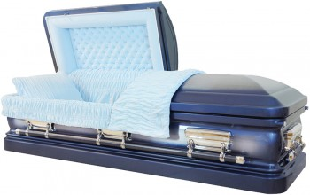 8202=8253 - 18 Gauge Steel Casket Medium Blue Metallic Casket with Light Blue Velvet