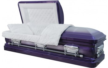 8205 - 18 Gauge Steel Casket Purple Casket - Brushed - White Velvet