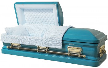 8212 - 18 Gauge Steel Casket Turquoise Casket, Actually Is White Velvet