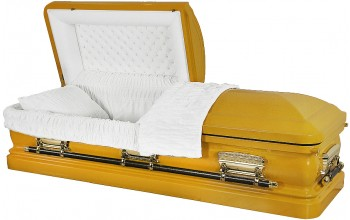 8214 - 18 Gauge Steel Casket-- Yellow Casket with White Velvet
