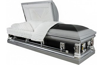 8215 - 18 Gauge Steel Casket Black and Silver Finish, White Velvet