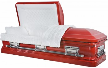 8216 - 18 Gauge Steel Casket Red Casket with White velvet