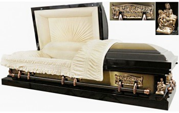 8217 - Last Supper Casket, Pieta Casket Dark Brown w/ Bronze Brush 18ga Almond Velvet