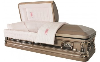 8228 - Tapestry Rose Casket Silver Rose Shaded Silver - Lt Pink Velvet
