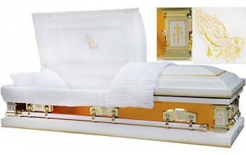 8271 - Praying Hands Casket 18ga White w/ Gold Mirror Sides White Velvet Interior