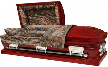 8272 - Camouflage Casket - 18 Gauge Burgundy Finish - Hunter's Casket Camouflage Interior