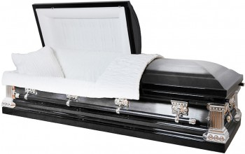 8285 - Black with Natural Brush 18ga Onyx Casket - White Velvet Interior