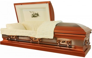 8301 - Farm Scene Casket 18ga Almond Velvet - Copper with Natural Brush, Windmill