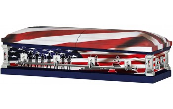 8312a- Navy Wrapped Casket, 18ga Light Blue Interior Flag Head Panel