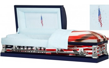8312 - Navy Wrapped Casket, 18ga Light Blue Interior Flag Head Panel