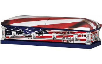 8313a - Air Force Wrapped Casket, 18ga Light Blue Interior Flag Head Panel