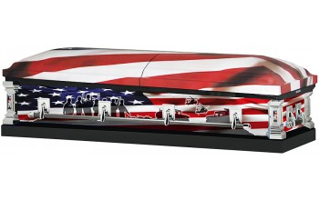 8314a - Marines Wrapped Casket, 18ga White Interior Flag Head Panel