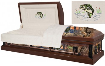 8319 - Fish Wrapped Casket - 18 GaugeFish Embroidery  Beige Interior