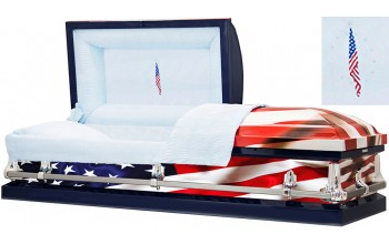 8320 - Fallen Flag Wrapped Casket, 18ga Blue Interior