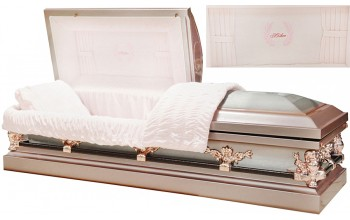 8329 - Mother Casket w/ Curtains Head Panel, 18ga, Silver Rose Finish w/ Silver Brush, Rose Tan Hardware, Pink Velvet