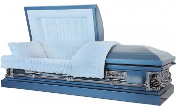8331=8421 - La Pieta Casket 18ga Light Blue Casket - Brushed - Lt Blue Velvet