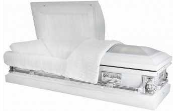 8332B - 18ga Pieta Casket  Last Supper Casket - White Finish - White Velvet