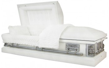8332A - 18ga Pieta Casket  Last Supper Casket - White Finish - White Velvet