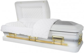 8333 - 18 Gauge Steel Casket White Velvet Interior