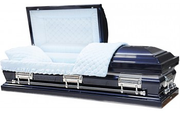 8350 - 18 Gauge Steel Casket Navy Blue finish W/ Silver Accent - Quilted Velvet - Silver Hardware