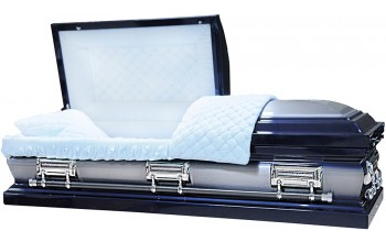 8354 - 18 Gauge Steel Casket Navy Blue Casket W/ Natural Brush- Quilted Velvet - Silver Hardware