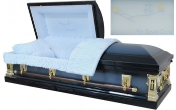 8369 - 18ga In God's Care Casket Dark Blue/Light Blue, Lt Blue Velvet