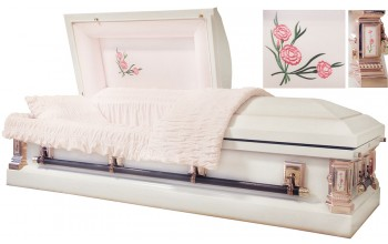 8373 - White Carnation Casket White w/ Light Pink Accents Light Pink Velvet