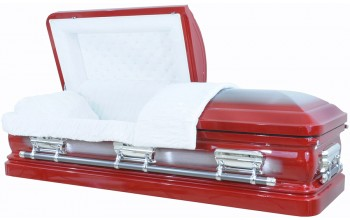 8374 - Red Casket w/Silver Brush, 18ga Silver Hardware - Natural Brush - White Velvet
