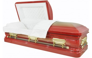 8375 - Red Casket w/Gold Brush, 18ga Gold Hardware - Gold Brush - White Velvet