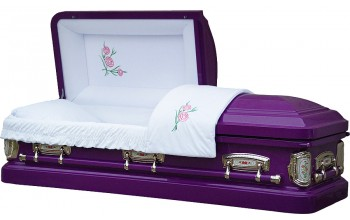 8387 - Carnation Casket 18ga White Velvet, Actual Barney Purple color