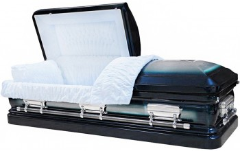 8390 - 18 Gauge Steel Casket Greenish Blue Casket W/ Natural Brush- Quilted Velvet - Silver Hardware