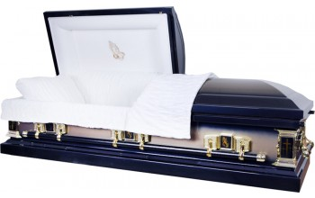 8395 - 18 Gauge Steel Casket Dark Blue / Gold Finish
