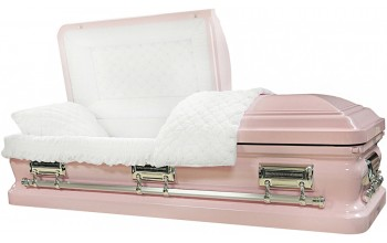 8396 - 18 Gauge Steel Casket Light Pink finish - Quilted Velvet - Silver Hardware