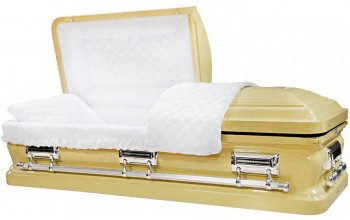 8397 -Light  Champagne Casket, 18ga White Velvet Interior