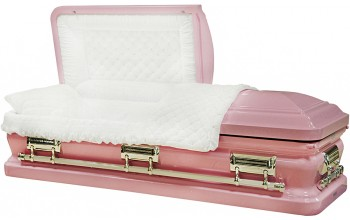 8399 - 18 Gauge Steel Casket Bubble Gum Pink finish - Quilted Velvet - Silver Hardware