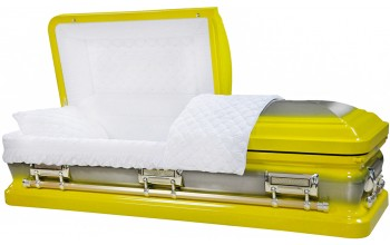 8404 -Bright Yellow Casket, 18ga Natural Brush, White Velvet