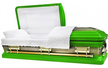 8405 -Lime Green Casket, 18ga Natural Brush, White Velvet