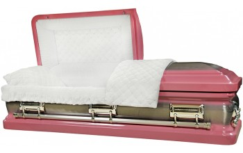8409 -Pink Casket, 18ga Natural Brush, White Velvet