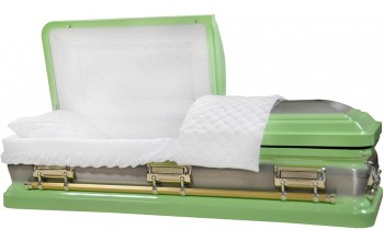 8412 -Pastel Green Casket, 18ga Natural Brush, White Velvet