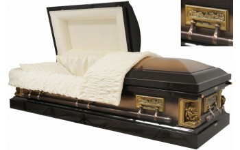 8422 - 18ga Pieta Casket  Last Supper Casket - Dark Brown & Gold Metallic - Beige Crepe