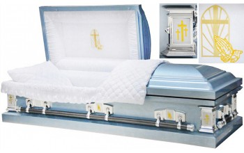 8455 -Light Blue Praying Hands Casket 18gaWhite Velvet